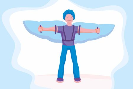 Man flying on wings of the sky to success. Promotion concept. Advertising manager, flat cartoon style. Vector illustration for business and romantic design.