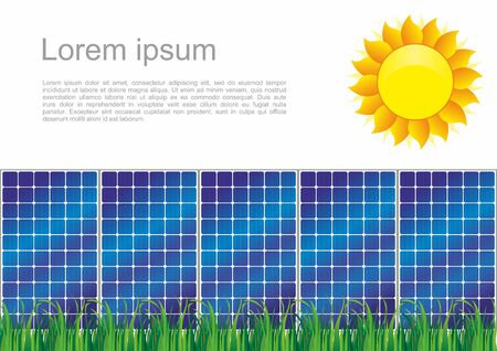 Solar panels, Solar power. Photovoltaic panel exposed to sunlight. Vector image