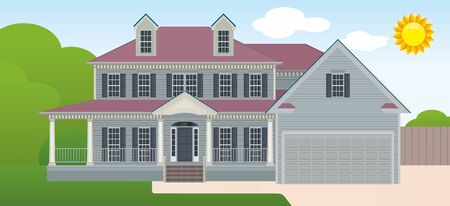 Luxury houses with nice landscape. Country cottage. Vector detailed illustration. Real estate or modern housing. 矢量图像