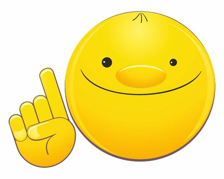Happy emoji emoticon pointing with his finger. Emoticon face points with his finger. Indicative gesture. Cute smiling emoticon. Vector illustration. Çizim