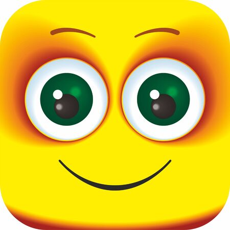 Happy laughing face Cartoon Square Emoticon. Cartoon faces for your design.