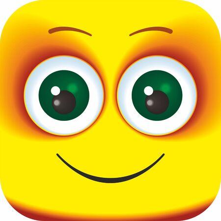 Visage riant heureux Cartoon Square Emoticon. Visages de dessin animé pour votre conception.