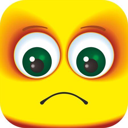 Sad face Cartoon Square Emoticon. Cartoon faces for your design. Ilustración de vector