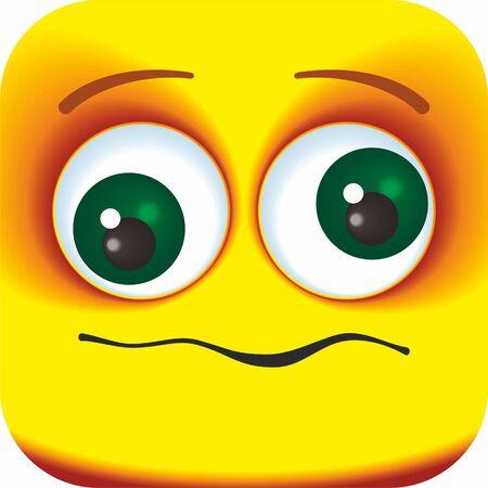 Commencez à pleurer. Émoticône carrée de dessin animé face à un visage déconcerté et souffrant. Visages de dessin animé pour votre conception.