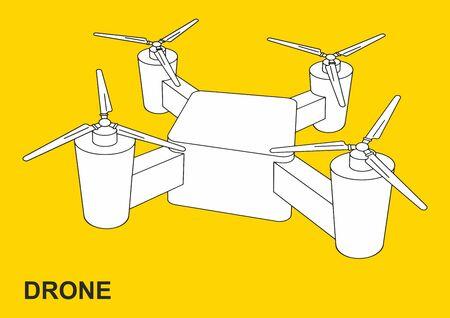 Drone quadrocopter, image of a flying drone. Vector illustration. Ilustração