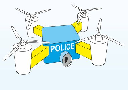 Police drone. Law enforcement drones, police drone use. Drone quadrocopter, image of a flying drone. Vector illustration. Ilustração
