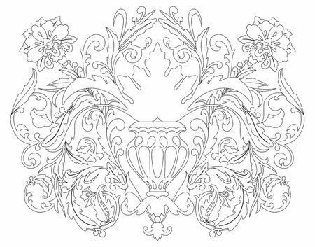 Coloring Luxurious paisley composition. pattern with fantasy flowers, floral decoration, decorative border for textile, wrapping, decor. Bohemian design. Vetores