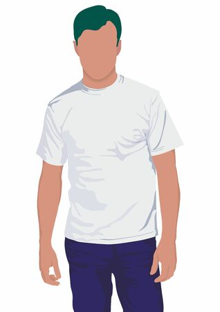 Young man in blank t-shirt on white background. Man wearing blank t-shirt isolated on white background 向量圖像