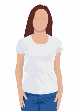 Young girl in blank t-shirt on white background. Girl wearing blank t-shirt isolated on white background