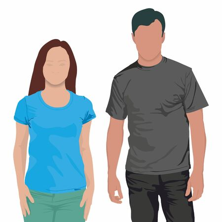 Young boy and girl in blank t-shirts on white background. Boy and girl wearing blank t-shirts isolated on white background with copy space