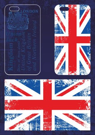 Phone cases with grunge United Kingdom flag. Vector illustration