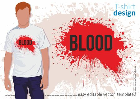 White t-shirt with splashes of red blood and the word