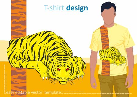 Tiger vector print. Illustration of a bright and fashionable t-shirt with the image of a tiger. Illustration for t-shirts, sweatshirts, bags and souvenirs. Vector.