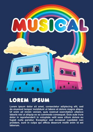 Music audio cassettes and rainbows. Vector illustration on the theme of disco and rock music, disco party. Bright and fashionable image for poster, t-shirts, hoodies, bags and souvenirs. Ilustração
