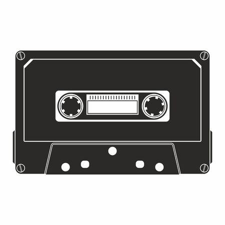 Audio Cassette icon. Retro badge. Vector illustration. Vettoriali