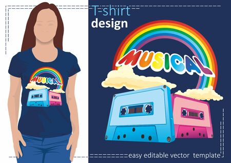 Music audio cassettes and rainbows. Vector illustration on the theme of disco and rock music, disco party. Bright and fashionable image for t-shirts, hoodies, bags and souvenirs.