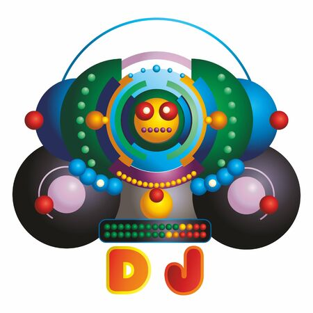 Big party, Stylized image of a DJ. Party event poster template. Vector illustration. Ilustração