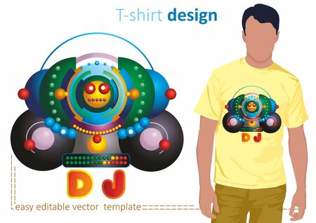 Stylized image of a DJ, Big party. Illustration of a bright and fashionable t-shirt, sweatshirts, bags and souvenirs. Vector image.