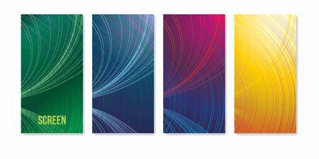 Colorful geometric background. Wallpapers set for mobile app. Modern screen vector design for mobile app. Vector image. Ilustração