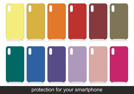 Cases set for smartphone with shadow isolated on white background. Silicone protection for mobile phone. Vector illustration Ilustração
