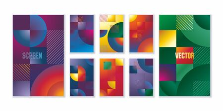 Colorful covers design. Abstract geometric pattern background for business brochure cover design. Wallpapers set for mobile app.