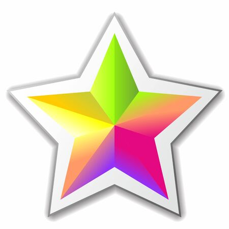 bright multicolored five-pointed star. Vector image 向量圖像