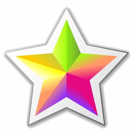 bright multicolored five-pointed star. Vector image Ilustração