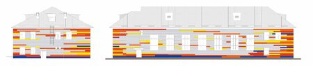 Drawing of a house lined with bright colored siding. Metal sheet texture of building. Wall panel lining. Bright colored Facing panels. insulation of facades, building materials
