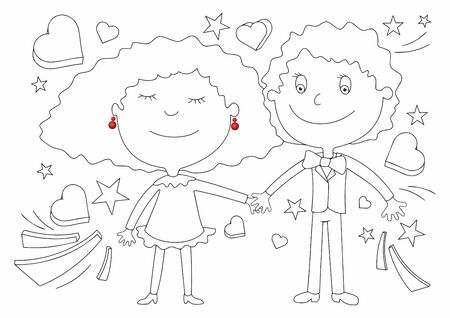 Happy couple in love. Funny bright illustration. Happy valentine's day with lover. Hold one's hand. Decoration greeting card, banner, website.