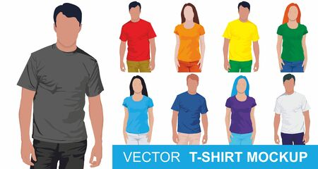 Round neck t-shirts templates. Set of colored shirt mockup in front view. Big t-shirt templates collection of different colors. Vector illustration. 向量圖像