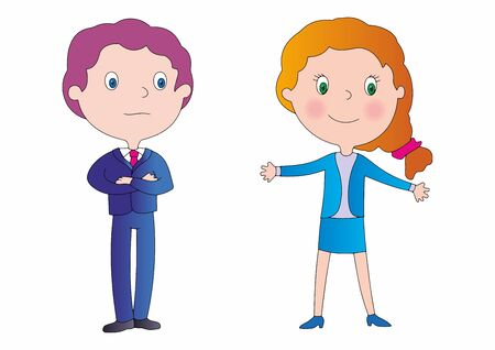 Cute and funny couple, male and female businessmen. Business Team Characters design for your projects. Office workers or clerks.