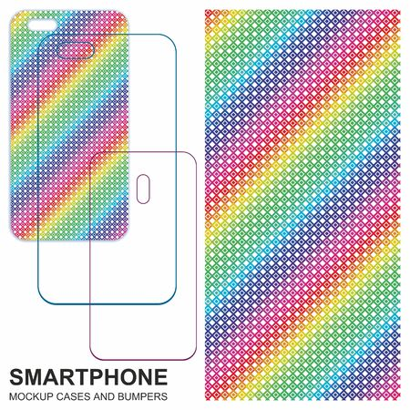 Mobile phone cover design. Rainbow, Multicolor grunge background. Seamless colorful textures. Mobile phone cover back. Vector decorative backgrounds ready for print. 向量圖像
