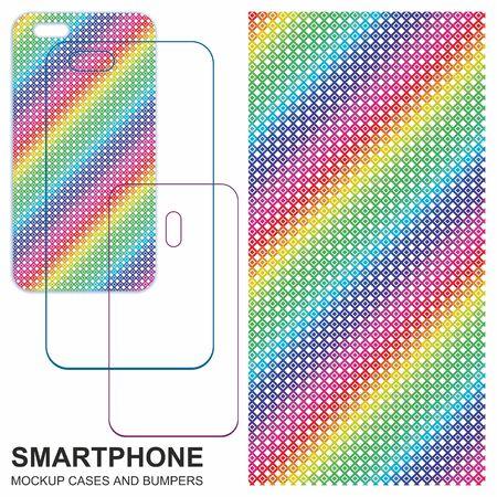 Mobile phone cover design. Rainbow, Multicolor grunge background. Seamless colorful textures. Mobile phone cover back. Vector decorative backgrounds ready for print. Ilustração