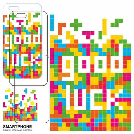 Mobile phone cover design. Good luck. Tetris game with pieces of squares. Mobile phone cover back. Vector backgrounds ready for print. Ilustração
