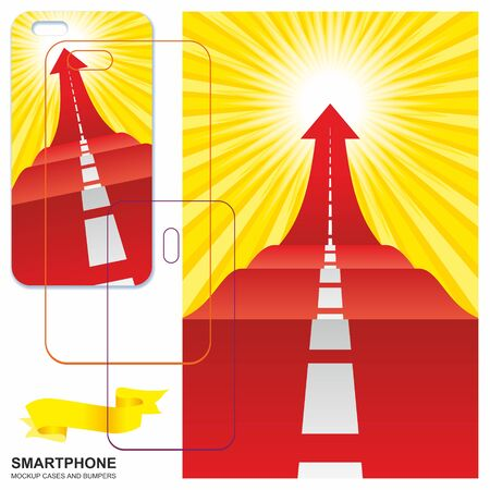 Mobile phone cover design. Road with an arrow up. Concept of the road to success, flash of inspiration. Mobile phone cover back. Vector backgrounds ready for print.