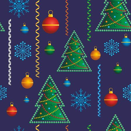 Christmas seamless background. Christmas tree with Christmas toys, snowflakes. Ideal for Holiday Paper and Fabric Print or packaging decoration holiday Ilustração