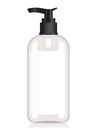 Cosmetic plastic bottle with dispenser pump. Cosmetic bottle for a cream, shampoo, oil, gel. Mock up. Design label for container. Batcher Cosmetic products