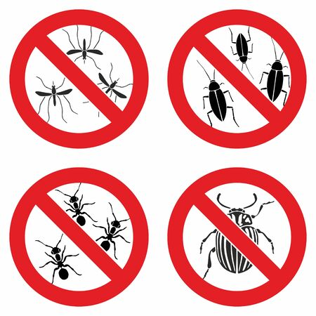 Stop insects. Tick, bugs and mosquito silhouettes. Warning prohibited sign, anti insect vector icons 向量圖像