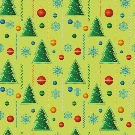 Christmas seamless background. Christmas tree with Christmas toys, snowflakes. Ideal for Holiday Paper and Fabric Print or packaging decoration holiday 向量圖像