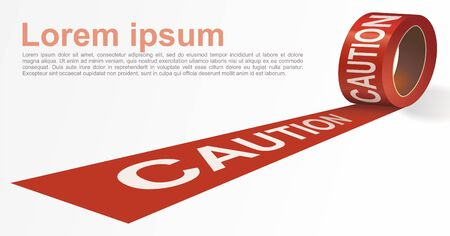 Red signal tape. Red warning tape with white text CAUTION. Template for brochure, poster or information message. Vector illustration.