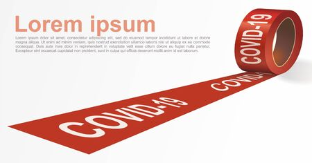 Red signal tape. Red warning tape with white text COVID-19. Template for brochure, poster or information message. Vector illustration. Ilustração