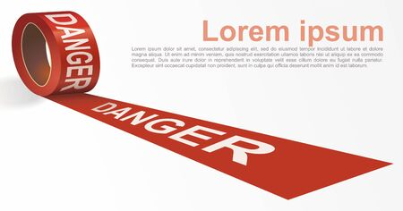 Red signal tape. Red warning tape with white text DANGER. Template for brochure, poster or information message. Vector illustration.