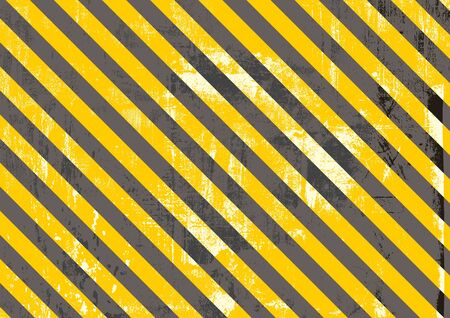 Safety stripes. Warning stripes. Barricade tape. Yellow and black diagonal stripes. Scratch Grunge Urban Background. Distress texture for your design. Vector urban background.