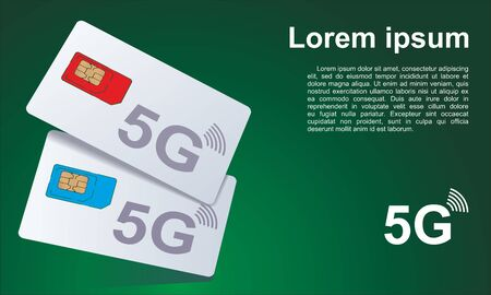 Technologies 5G, SIM card for mobile cellular communication. Concept of wireless high speed internet connection. Symbol for web and mobile, Vector illustration.