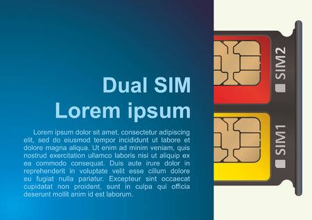 Dual SIM, Blank SIM card tray. Smartphone with open SIM slots, top view close-up. SIM card for mobile cellular communication. Vector illustration.