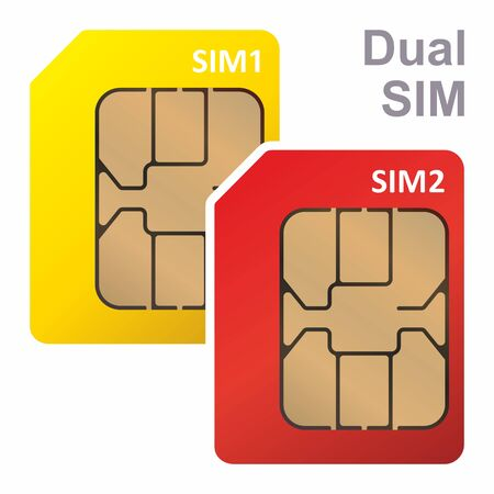 Dual SIM, SIM card for mobile cellular communication. Symbol for web and mobile, Mobile and wireless communication technologies. Network chip electronic connection. Vector illustration.