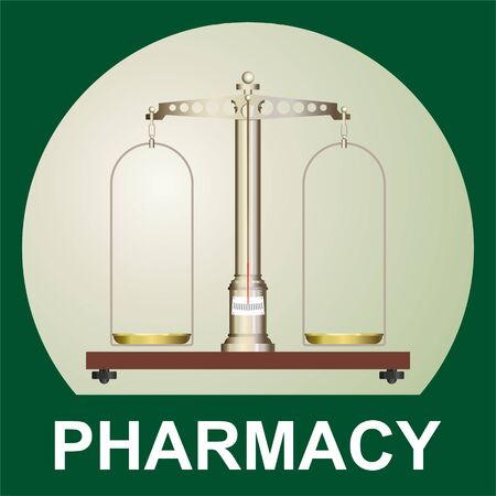 Old pharmacy, medical scales. Pharmacy Balance of precision. Vector picture of pharmaceutical equipment, old pharmacy. Ilustração