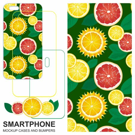 Seamless pattern with slices of lemons, grapefruits and sun.  イラスト・ベクター素材