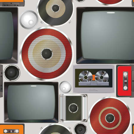 Retro audio-video equipment. Seamless pattern of vintage equipment televisions and cassette recorders. Analog media technology of the past. Collection of vintage equipment a TV and cassette recorders