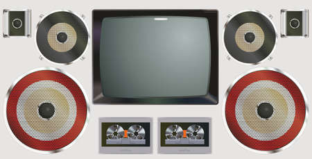 Retro audio-video equipment. Vintage equipment televisions and cassette recorders. Analog media technology of the past. Collection of vintage equipment a TV and cassette recorders